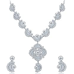 Sukkhi Bewitching Rhodium Plated AD Necklace Set for Women