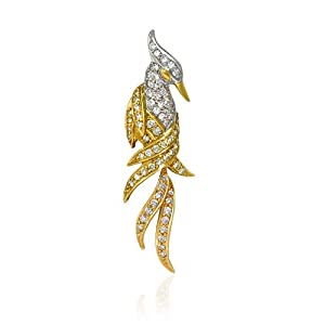 Diamond 18k Two Tone Gold Bird Brooch Pin