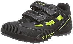 Geox J Savage 28 Sneaker (Toddler/Little Kid/Big Kid), Black/Lime, 24 EU (8 M US Toddler)