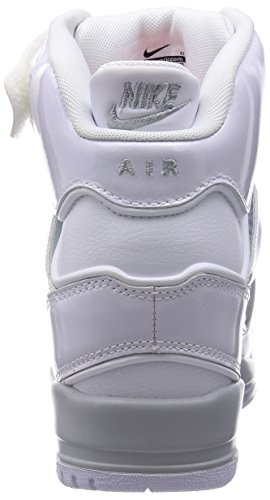 pictures of Nike Air Revolution Sky Hi Women's Shoes Wedge White/Hyper Punch/Metallic Silver/Wolf Grey 599410-102 (SIZE: 7.5)
