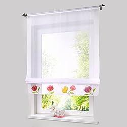 New Roman shade lotusEuropean handmade spraying style tie up window curtain kitchen curtain semi sheer window curtain style White 150x245 Tab Top