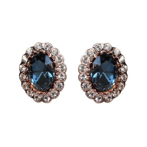 FASHION PLAZA Kate Middleton Style Jewelry Rose Gold Finish CZ Simulated Royal Sapphire Earrings E289