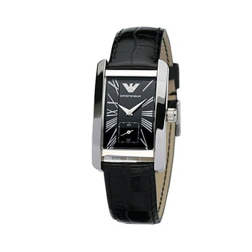 Emporio Armani Quartz, Black Dial with Black Leather Strap Band - Womens Watch AR0144