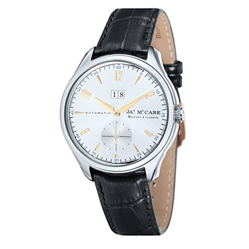 James McCabe Masters Automatic Subdial Watch with Silver Dial and Black Genuine Leather Strap
