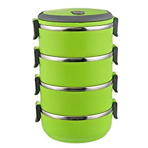 godagoda green four layers stainless steel lunch box bento portable school thermal food storage. Black Bedroom Furniture Sets. Home Design Ideas