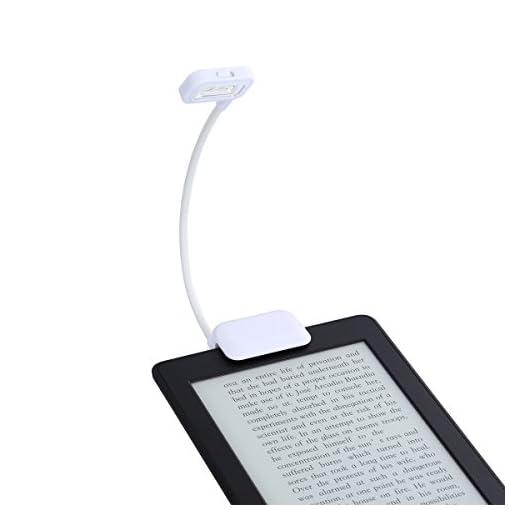 LANMU-Black-Dual-LED-Clip-On-Reading-Light-Lamp-for-Amazon-Kindle-PaperWhiteVoyagekindle-6inchNookeBook-ReadersTabletsPDAsCell-PhonesBookTextbookWhite