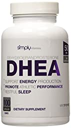 Simply Vitamins DHEA 50mg 100 Capsules - Promotes Healthy Hormone Levels in Men and Women - More Youthful Feeling and Increased Energy Levels - Feel Younger Naturally