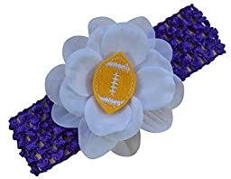 Baby Embroidered Felt Football Flower Headband (Purple Band / Gold Ball)