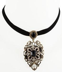 "SIX ""Dolcevita"" schwarze Samt-Kette mit antikgoldenem Ornament (339-479)"