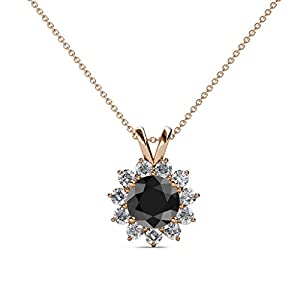 Black and White Diamond Floral Halo Pendant 1.28 ct tw in 14K Rose Gold with 18 Inches 14K Gold Chain