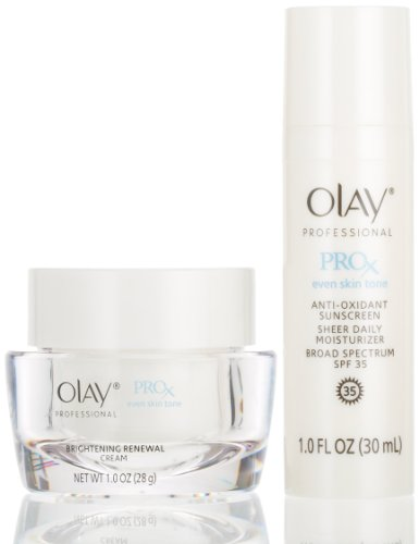 Olay Professional Pro-X Even Skin Tone Skin Brightening Protocol, Brightening Renewal Cream + Anti-Oxidant Sunscreen Sheer Daily Moisturizer Broad Spectrum Spf 35 1 Kit