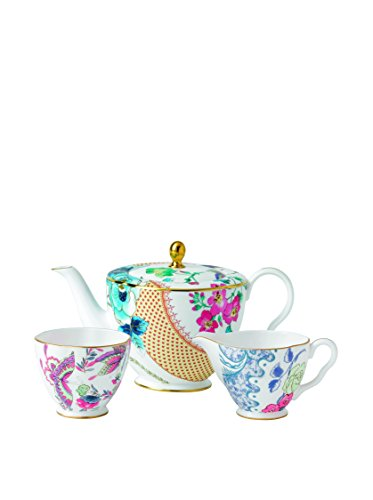 Wedgwood Butterfly Bloom Teapot Sugar and Cream Set