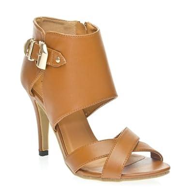 Betani Womens BEBE1 Open Toe X Criss Cross Cut Out Buckle Zipper High Top Heel Sandal Shoes, Camel Tan PU Leather, 6 B (M) US