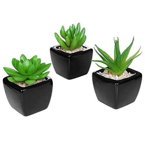 Set Of 3 Modern Decor Mini Artificial Plants With Square