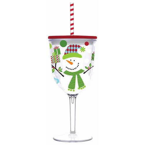 Insulated Wine Glass With Straw front-457397