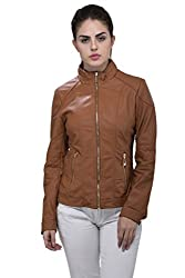 Svt Ada Collections Women's Leather Jacket (SVT09160539-13-L_Tan Brown_Large)