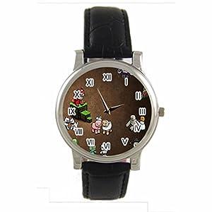 Cartoon Minecraft Custom 100% NEW genuine leather Band fashion adult's Sport wrist watch