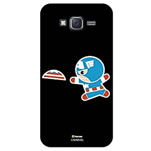 Hamee Original Marvel Character Licensed Designer Cover Slim Fit Plastic Hard Back Case for Samsung Galaxy J5 - 2015 Edition (Kawaii Captain America playing with flying disc black cover)
