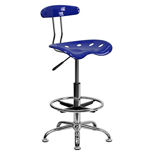 Flash Furniture Height Adjustable Drafting Stool With Chrome Base, Chrome Computer Task Chair With Tractor Seat (Nautical Blue)