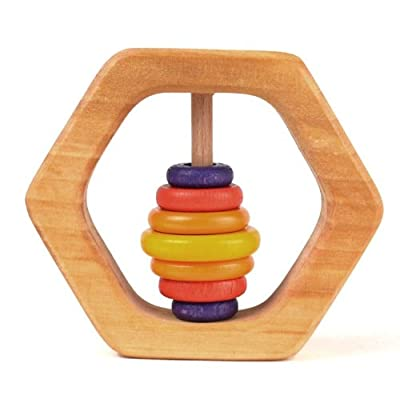 Wooden Hexagon shaped Baby Rattle and Teether