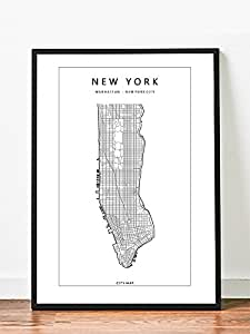 Poster Art Print Map Of New York City Manhattan Home Decor 16 X 20 Serigraphs