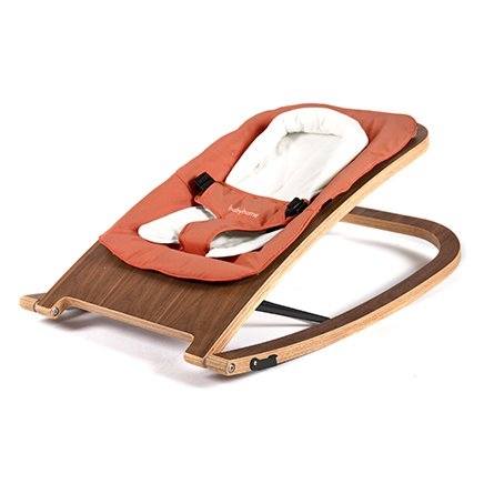 BabyHome Wave Wooden Rocker - Walnut/Clay
