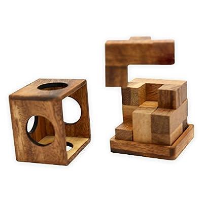 Wooden Enigma Cube 3d Puzzle Brain Teaser