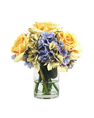 Creative Displays Hydrangea & Roses In Glass With Natural Looking Water, Blue/Gold