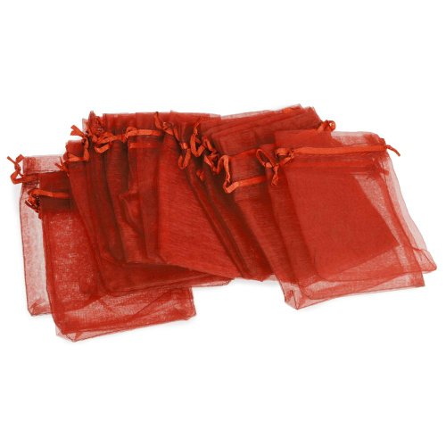 24Pcs Wedding Party Favor Baby Shower Candies Sweets Gift Bag Red Gauze front-413125