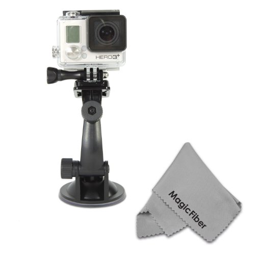 Suction Cup Mount For Gopro Hero4, Hero3+, Hero3, Hero2 And Hero (Black, Silver And White Editions) + Magicfiber Microfiber Lens Cleaning Cloth