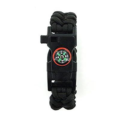 DEW Survival Kit Travel Outdoor Multifunctional Bracelet with Compass Whistle Buckle Survival Bracelet with Fire Starter Scraper