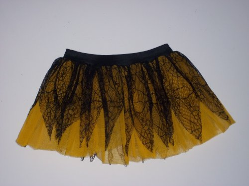 Yellow Black Spider Pointed Tutu Skirt Rave Dance Dress Costume Fancy