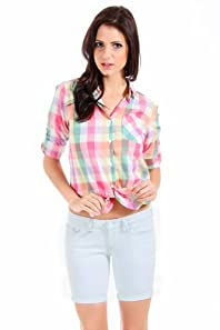 Ellison Plaid Button Down in Pink Multicolour