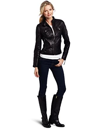 MICHAEL Michael Kors Women's Racer Leather Jacket, Black, Small