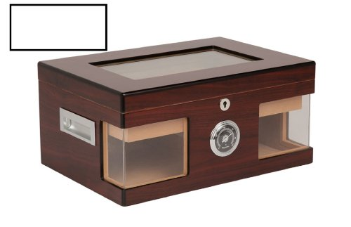 Humidor hold 100 cigars glass top hygrometer readable from the outside