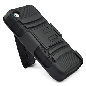 BLACK Hard Soft Hybrid Case cover with stand + belt clip holster for iphone 4 4S