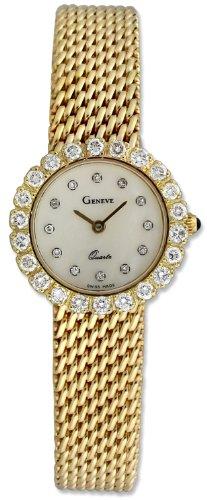Geneve 14K Gold & Diamond Mesh Womens Luxury Watch W1300