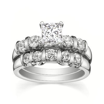 0.58 Carat Diamond Bridal Sets Princess Cut Diamond on 14K White gold
