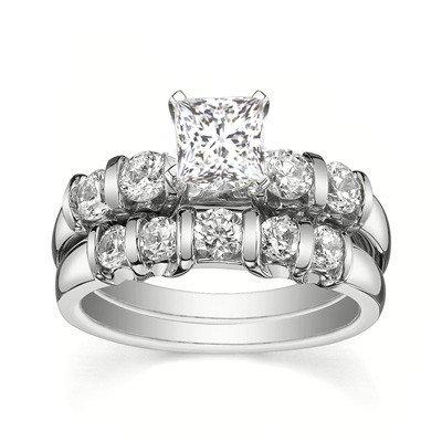 0.58 Carat Diamond Wedding Set Princess Cut Diamond on 18K White gold