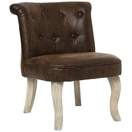 Sedia imbottita–Similpelle–Marrone–Pouf Imbottito solido