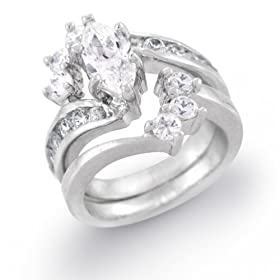 Independent 5mm Platinum Plated Silver 1ct Cz Channel Wedding Engagement Band Ring Set Size9 Fashion Jewelry
