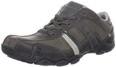 Skechers Lace-Up Textile Lined Lace Mens Shoes - Charcoal - Size 7