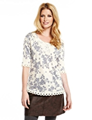 Indigo Collection Crochet Trim Floral Top with Modal
