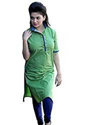 Look N Buy Women's Sea green cotton sitiched Kurti