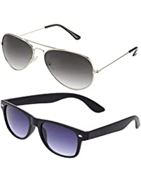 SHEOMY GOGALS FOR BOYS - COMBO OF STYLISH SILVER GREY AVIATOR AND MATTE BLACK WAYFARER SUNGLASSES WITH 2 HARD...