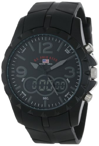 U.S. Polo Assn. Mens US9058 Analog-Digital Black Dial Black Rubber Strap Watch