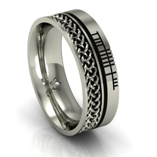 Celtic Symbol Wedding Band - Celtic Knots - .925 Silver - Size 12.5