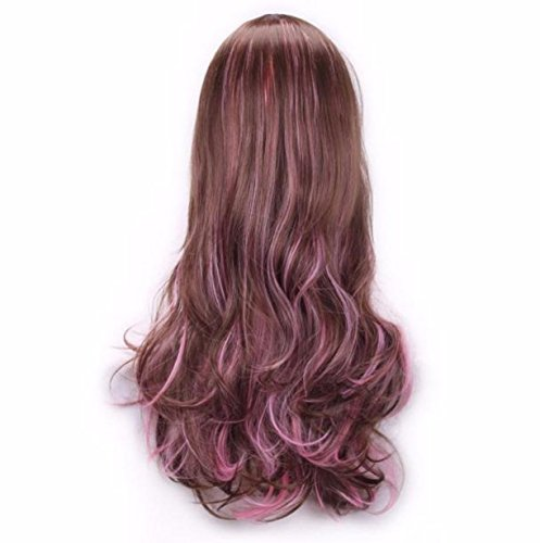 [Women Lady Long Hair Wig Curly Wavy Synthetic Anime Cosplay Party Full Wigs (C)] (Wigs Au)