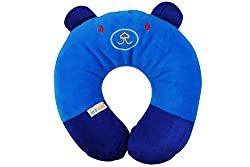 Ole Baby Cat Face Neck Support Pillow, Children's Neck Pillow, Soft and Plush,Blue 0-12 months