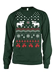 Reindeer Bells LONG SLEEVE Shirt funny ugly sweater shirt Christmas tee from Crazy Dog Tshirts